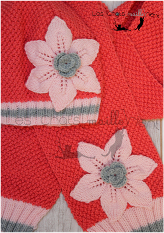 bonnet et echarpe fleurs 2s