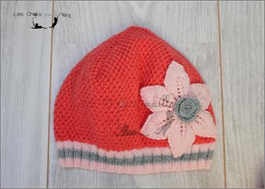 bonnet et echarpe fleurs 4s